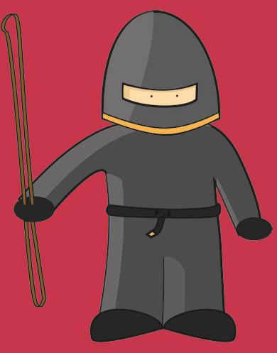 Ninja met zweep. Ja, je leest het goed, met zweep.